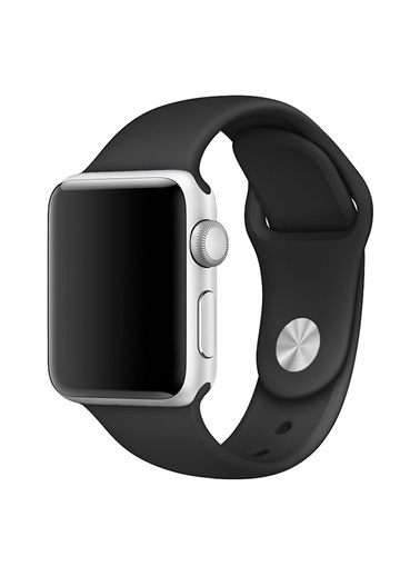Microsonic Apple Watch 38mm Silikon Kordon Siyah Siyah